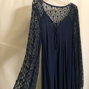 Ecote Crochet Lacy Knit Tunic Top in Navy Blue